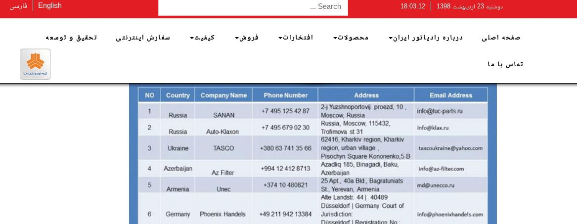 ifmat - Radiator Iran - Working Partners customers